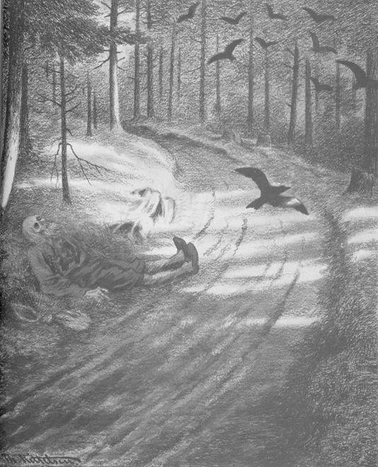 """Obraz """"Biedak"""" autorstwa norweskiego artysty Theodora Kittelsena, będący częścią serii o Czarnej Śmierci, która wyjątkowo dotkliwie zaatakowała ojczyznę artysty."""