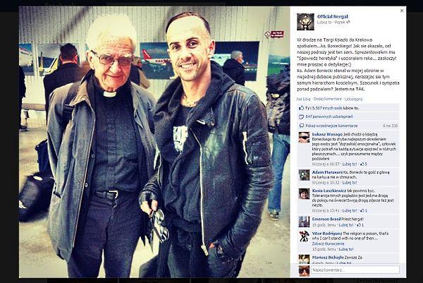 """Screen z profilu na Facebooku Adama Darskiego """"Nergala"""""""