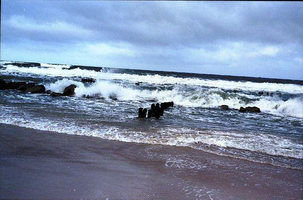Silny sztorm na Bałtyku, wichura na lądzie i ostrzeżenie przed cofką