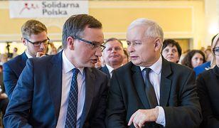 Zbigniew Ziobro, Jarosław Kaczyński i Beata Kempa. Konwencja Solidarnej Polski, koalicjanta PiS.