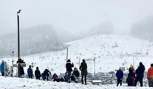 Ferie zimowe 2021. Tłumy w Koszałkowie-Wieżycy. Jeżdżą sankami po stokach