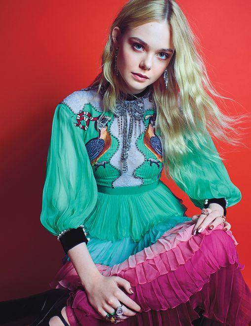 Elle Fanning w stylizacji Gucci