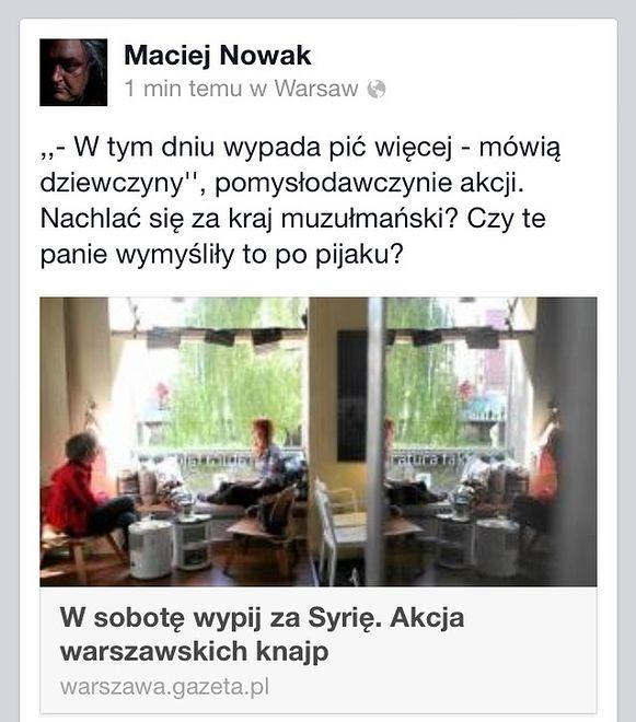 """Zachęcają, aby wypić za Syrię. """"Czy te panie wymyśliły to po pijaku?"""" - komentuje Maciej Nowak"""