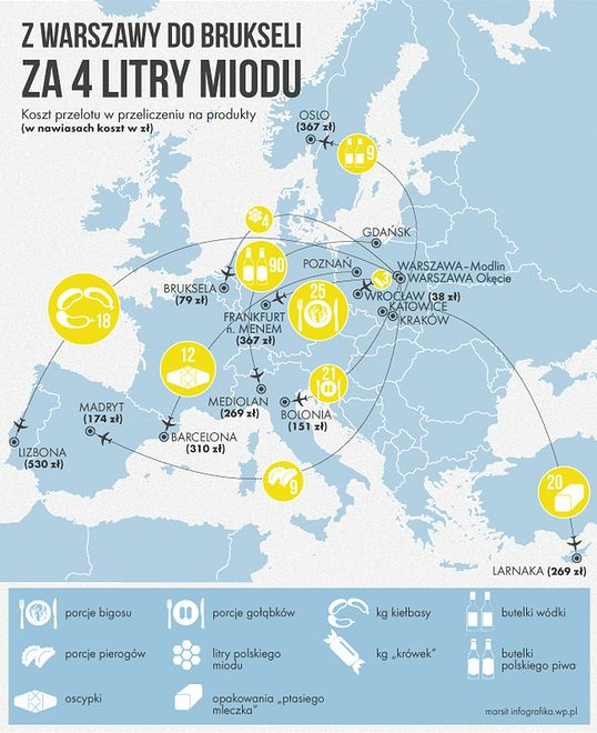 Warszawa - Bolonia za 21 porcji gołąbków, czyli 151 zł