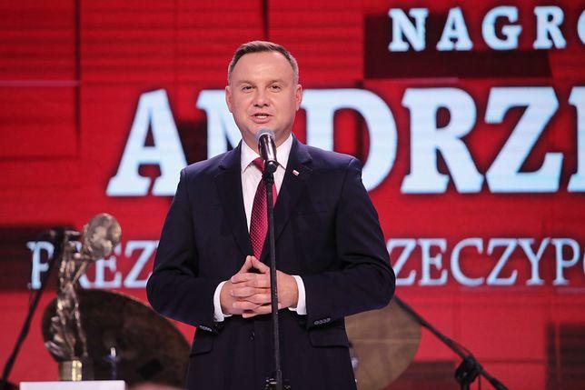Prezydent Andrzej Duda odbiera Nagrodę Prometejską im. Prezydenta Lecha Kaczyńskiego
