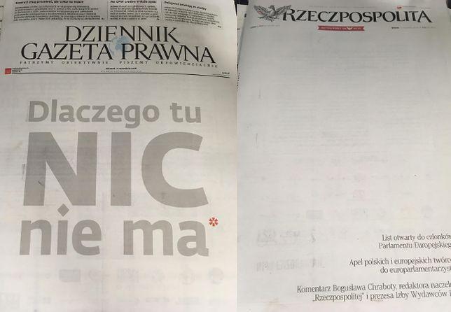 Puste strony największych gazet w Polsce.