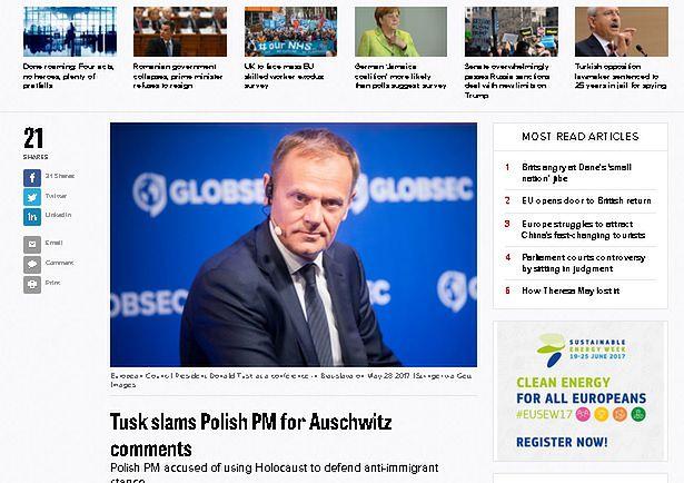 Politico: Tusk krytykuje słowa polskiej premier w Auschwitz