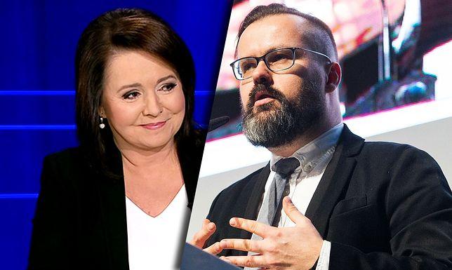 "Prowadząca ""Wiadomości"" Danuta Holecka i reporter TVN Bertold Kittel"