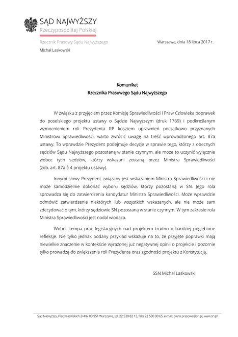 Komunikat rzecznika Sądu Najwyższego.