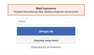 Poważna awaria Facebooka. Nie można się zalogować