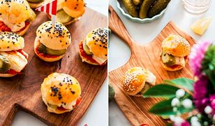 Mini burgery z ajwarem, halloumi i ogórkami. Na kolację lub przekąskę