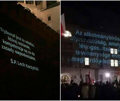 KOD zaczął wyświetlać w trakcie miesięcznicy smoleńskiej cytaty Lecha Kaczyńskiego na murach Wawelu