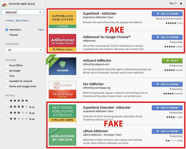 Cztery z sześciu wyników wyszukiwania na pierwszej stronie w Chrome Web Store to dodatki-podróbki, źródło: AdGuard.