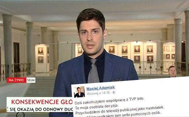 """Po 10 latach Maciej Adamiak odchodzi z TVP. """"Nie był w stanie wytrzymać tej propagandy"""""""