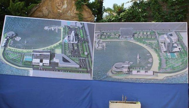 Wizualizacja nowoczesnego kompleksu hotelowego, który ma powstać w Syrii, nieopodal rybackiej wioski Al-Manara