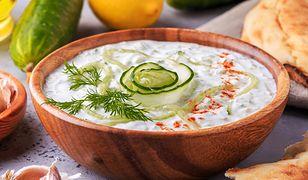 Greek salad tzatziki of cucumber, yogurt , olive oil, garlic, dill and spices, selective focus.