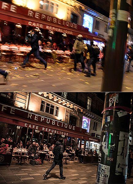 Zdjęcia z Paryża w dniu zamachów i rok po atakach