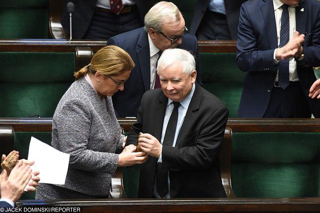 Wicemarszałek Sejmu Beata Mazurek i prezes PiS Jarosław Kaczyński