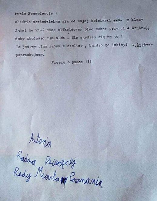 9-letnia Tosia pisze list do prezydenta Poznania z prośbą o uratowanie placu zabaw