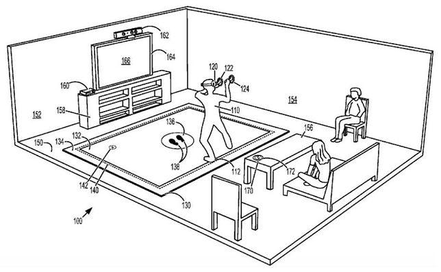 Rysunek złożony przez Microsoft do amerykańskiego biura patentowego obrazujący matę do VR