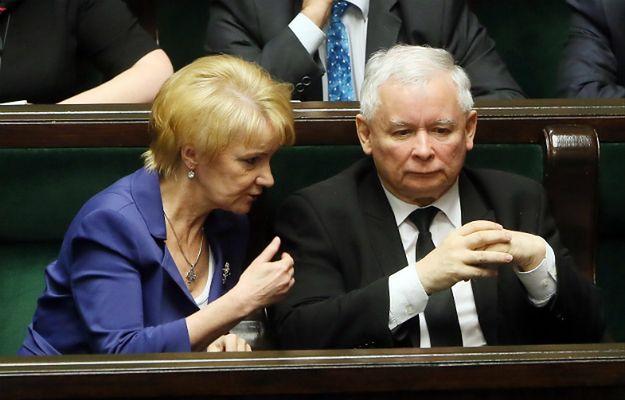 Posłanka Joanna Szczypińska i prezes PiS Jarosław Kaczyński