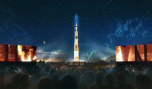 Saturn V na Pomniku Waszyngtona. Projekcja z okazji 50. rocznicy lądowania na Księżycu
