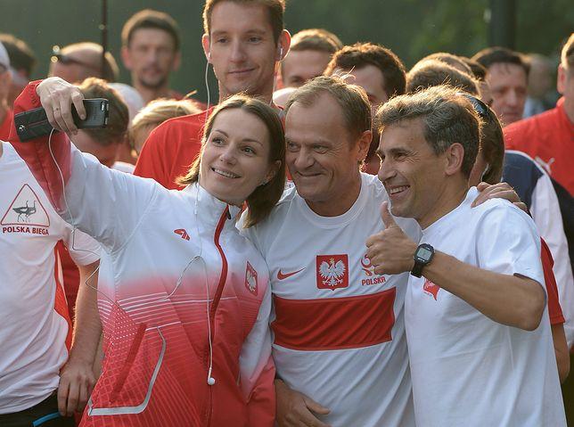 Donald Tusk podczas Biegu Wolności w Warszawie, 2014 r.