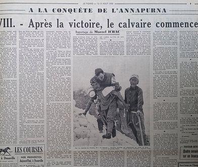 """""""Le Figaro"""" z 12-13 sierpnia 1950 roku z tekstem Marcela Ichaca o zdobyciu Annapurny. Odcinek ósmy: Po zdobyciu droga krzyżowa."""