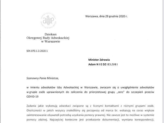 Pismo adwokatów do ministra zdrowia nosi datę 29 grudnia