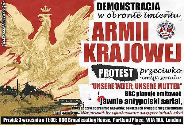 Plakaty zachęcające do udziału w demonstracji rozklejane są po całym Londynie