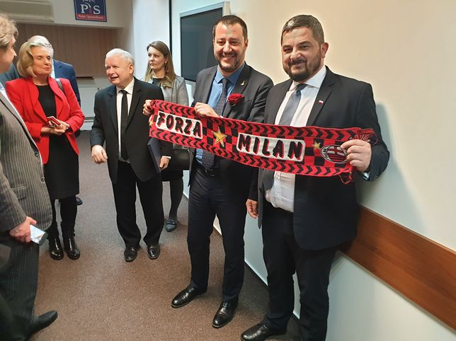 Wicepremier Włoch Matteo Salvini na Nowogrodzkiej w siedzibie PiS