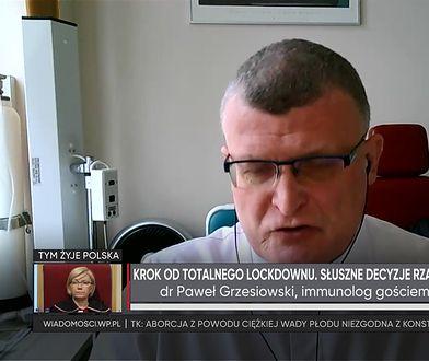 Koronawirus. Dr Paweł Grzesiowski ocenił nowe obostrzenia rządu