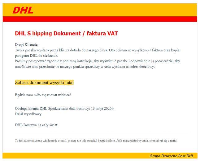 Fałszywy e-mail, którego nadawcą tylko teoretycznie jest firma kurierska DHL, fot. Oskar Ziomek.