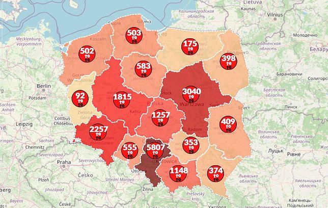 Mapa zakażeń koronawirusem w Polsce [20 maja 2020]