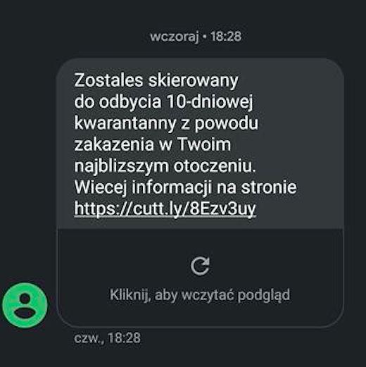 Mazowieckie. Jeśli zobaczysz taka wiadomość tekstowa na ekranie swojego telefonu, nie klikaj w link. To oszuści próbuję zmusić do zainstalowania aplikacji ze złośliwym oprogramowaniem