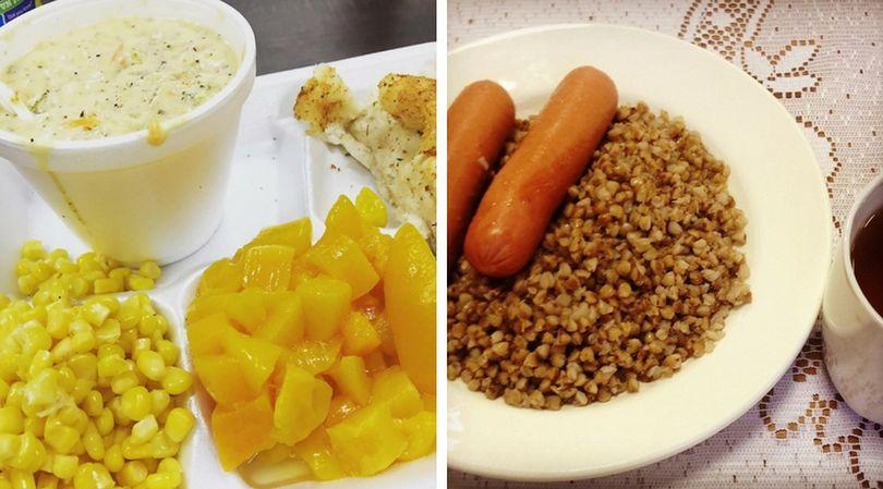 Obiad w stołówce szkolnej w USA (po prawej) oraz w Rosji (po lewej). Widać dużą różnicę w składnikach
