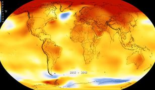 Zmiany średniej temperatury na Ziemi w latach 2014-2018
