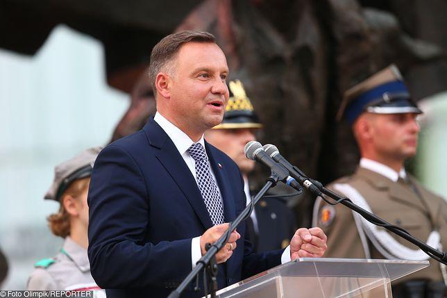 Andrzej Duda przemawiał przed Pomnikiem Powstania