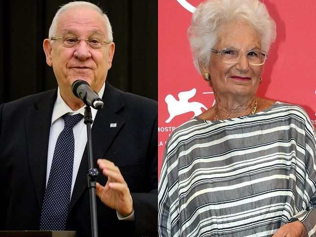 Prezydent Izraela Reuwen Riwlin i włoska senator Liliana Segre