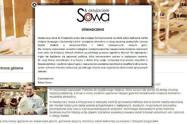 Oświadczenie na stronie restauracji