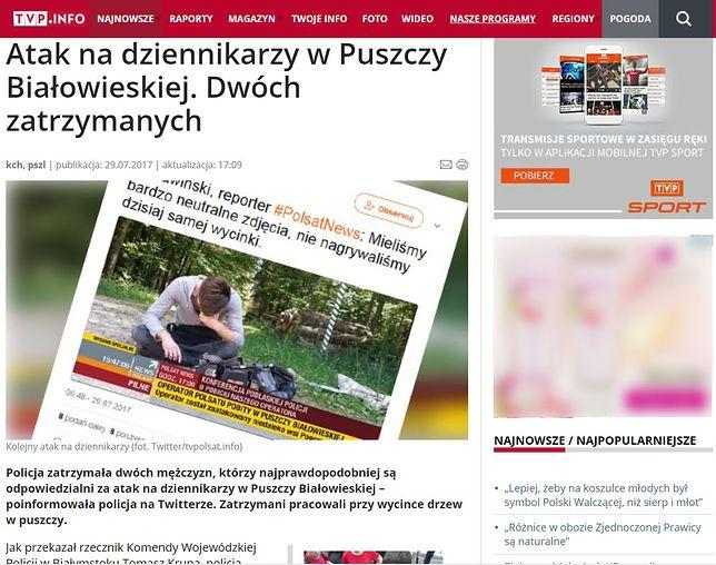 TVP broni atakowanych dziennikarzy. No chyba, że został pobity ktoś z konkurencji