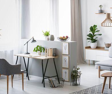 Mały gabinet w domu można urządzić w niezagospodarowanym kącie salonu