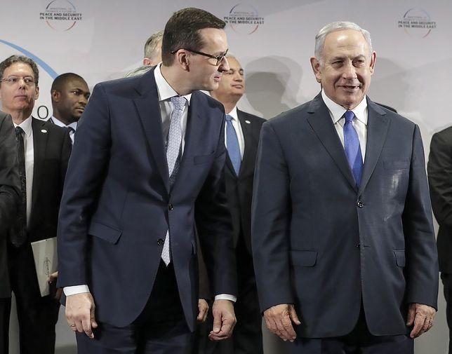 Premierzy Morawiecki i Netanjahu podczas konferencji bliskowschodniej w Warszawie