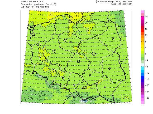 Pogoda. Prognozowane temperatury w niedzielę (meteomodel.pl)