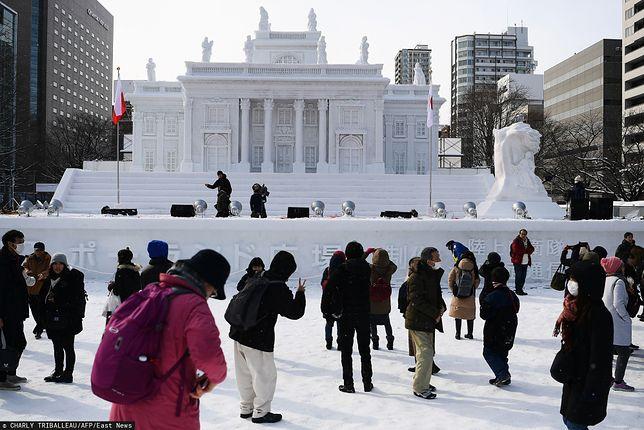 Japonia. Replika Pałacu na Wyspie z Łazienek Królewskich w Warszawie na Festiwalu Śniegu w Sapporo
