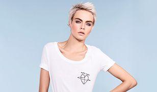 Cara zaprojektowała koszulkę z motywem serca.