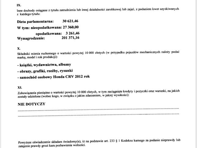 Oświadczenie majątkowe Marka Kuchcińskiegoo za 2017 rok