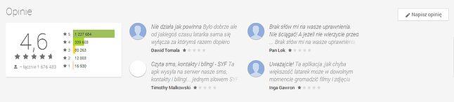 Przykład konfrontacji wysokich ocen aplikacji z negatywnymi opiniami użytkowników