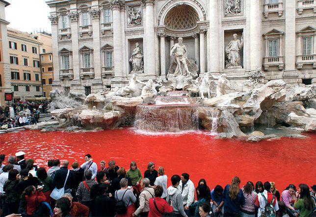 Zanieczyszczając wodę w Fontannie di Trevi., włoski artysta chciał zaprotestować przeciw korupcji