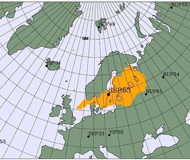 Mapa pokazuje potencjalne pochodzenie izotopów.